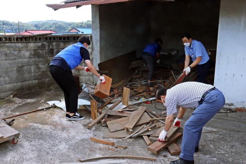 코레일 직원분들이 장애인가정에서 지저분하게 널려있는 나무토막을 정리하는 봉사활동을 하는 사진입니다.